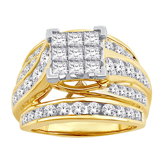 Womens 3 CT. T.W. Genuine White Diamond 10K Gold Engagement Ring