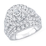 Womens 4 CT. T.W. Lab Grown White Diamond 10K White Gold Engagement Ring