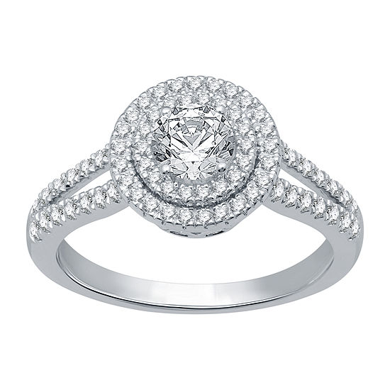 Ever Star Womens 1 CT. T.W. Lab Grown White Diamond 10K White Gold Engagement Ring