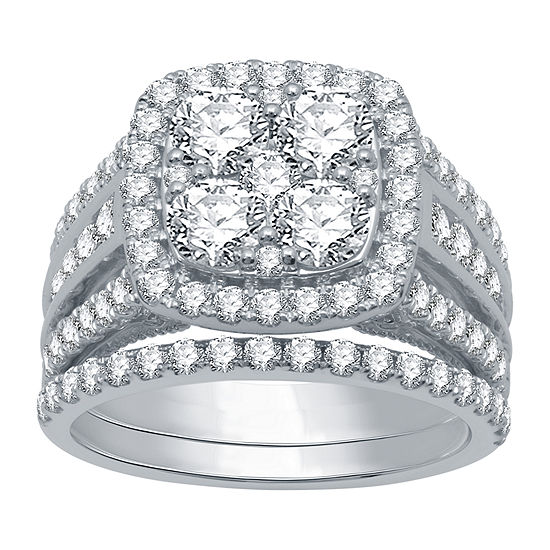 Ever Star Womens 3 CT. T.W. Lab Grown White Diamond 10K White Gold Engagement Ring