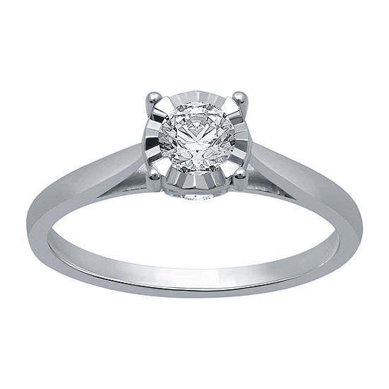 Ever Star Womens 1/2 CT. T.W. Lab Grown White Diamond 10K White Gold Solitaire Engagement Ring