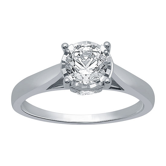 Ever Star Womens 1 CT. T.W. Lab Grown White Diamond 10K White Gold Solitaire Engagement Ring