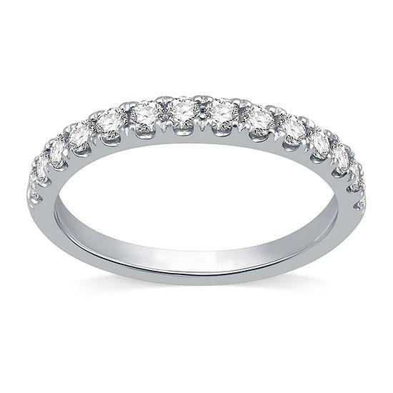 Ever Star Womens 1/2 CT. T.W. Lab Grown White Diamond 10K White Gold Anniversary Wedding Band