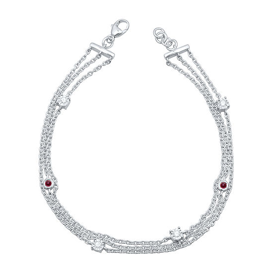 Marvel Universe Fine Jewelry By Marvel Diamond Accent Genuine Red Topaz Sterling Silver 7.5 Inch Tennis Bracelet