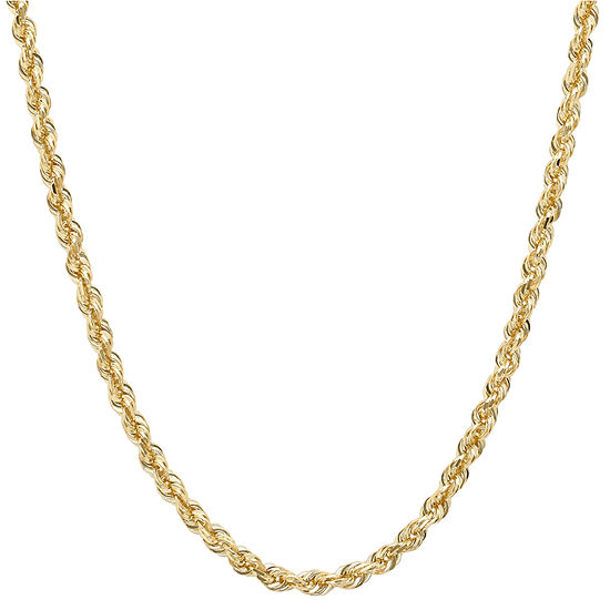 """14K Yellow Gold 2.5mm 16-24"""" Hollow Glitter Rope Chain"""