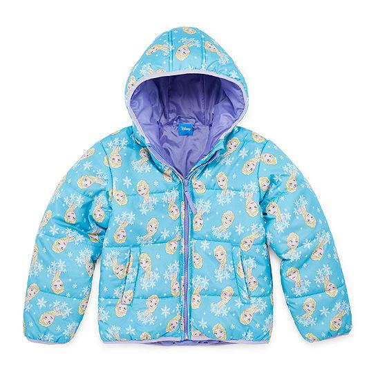 Disney Collection - Girls Frozen Hooded Heavyweight Puffer Jacket-Toddler