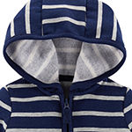 Carter's Baby Boys Hooded Neck Long Sleeve Striped Cardigan
