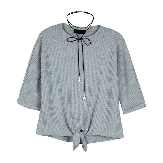 by&by girl By And By Girl Big Kid Girls Round Neck 3/4 Sleeve Blouse