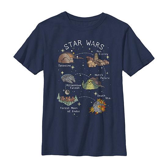 Star Wars Drawn Map Boys Crew Neck Short Sleeve Graphic T-Shirt - Preschool / Big Kid Slim