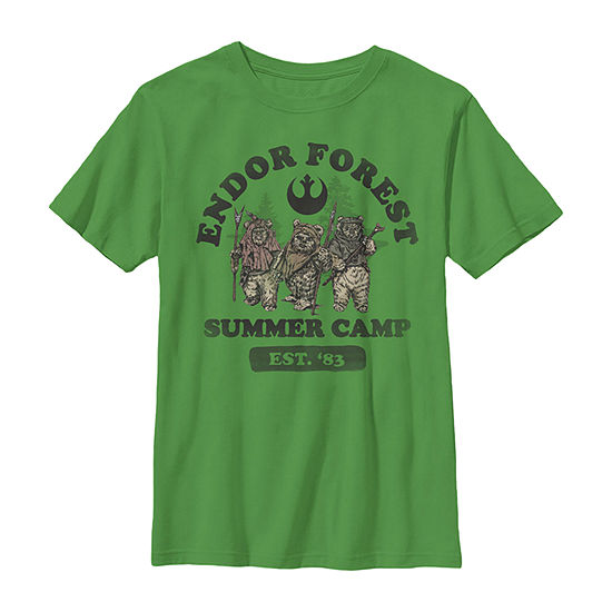 Star Wars Endor Forest Summer Camp Boys Crew Neck Short Sleeve Star Wars Graphic T-Shirt - Preschool / Big Kid Slim