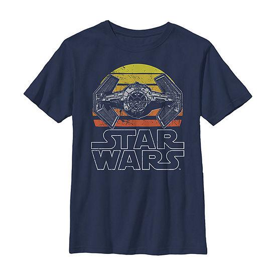 Star Wars Tie Fighter Retro Halftone Sunset Boys Crew Neck Short Sleeve Star Wars Graphic T-Shirt - Preschool / Big Kid Slim