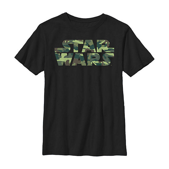 Star Wars Camo Logo - Little Kid / Big Kid Boys Slim Crew Neck Star Wars Short Sleeve Graphic T-Shirt