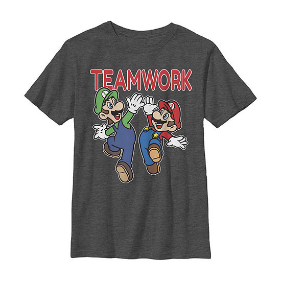 Nintendo Super Mario Luigi Teamwork High Five Classic - Little Kid / Big Kid Boys Slim Crew Neck Short Sleeve Graphic T-Shirt