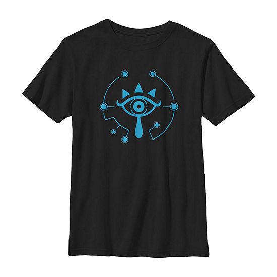 Nintendo Zelda Breath Of Wild Sheikah Logo Boys Crew Neck Short Sleeve Graphic T-Shirt - Preschool / Big Kid Slim