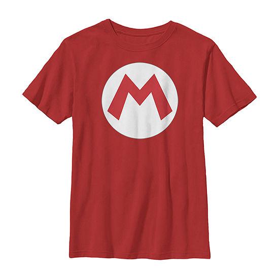 Nintendo Super Mario Icon Costume - Little Kid / Big Kid Boys Slim Crew Neck Short Sleeve Graphic T-Shirt