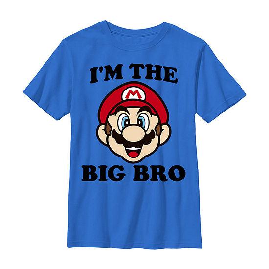 Nintendo Super Mario The Big Bro Face Boys Crew Neck Short Sleeve Graphic T-Shirt - Preschool / Big Kid Slim