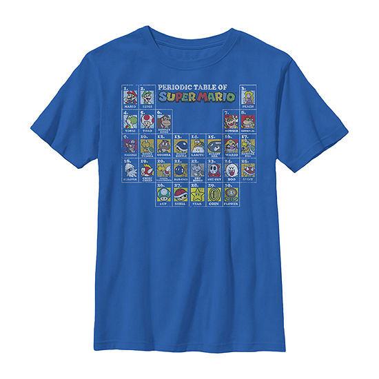 Nintendo Super Mario Periodic Table Of Character Panel Grid Boys Crew Neck Short Sleeve Graphic T-Shirt - Preschool / Big Kid Slim