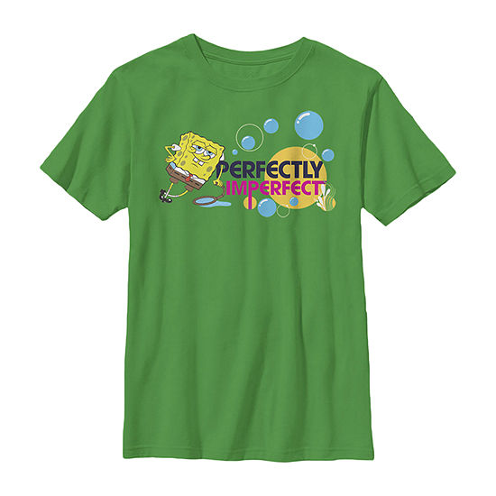 Nickelodeon Spongebob Squarepants Perfectly Imperfect Bubbles - Little Kid / Big Kid Boys Slim Crew Neck Short Sleeve Graphic T-Shirt