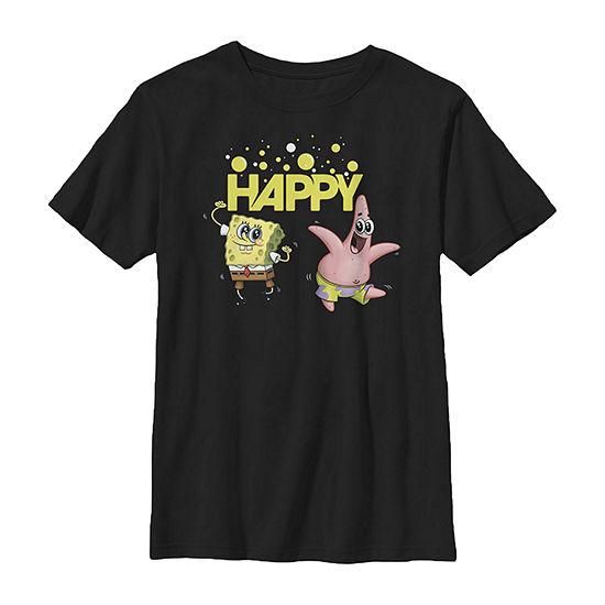 Nickelodeon Spongebob Squarepants Happy Dancing Spongebob And Patrick - Little Kid / Big Kid Boys Slim Crew Neck Short Sleeve Graphic T-Shirt