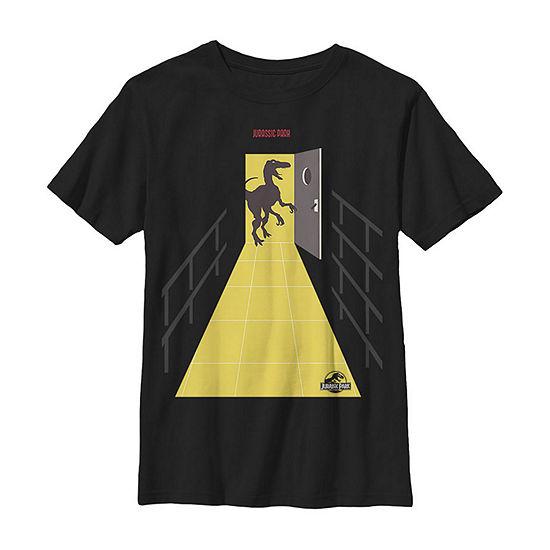 Jurassic Park Raptor Into The Light Boys Crew Neck Short Sleeve Graphic T-Shirt - Preschool / Big Kid Slim