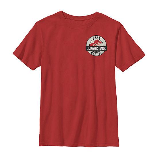 Jurassic Park Ranger Logo Tan Badge Little & Big Boys Slim Crew Neck Short Sleeve Graphic T-Shirt