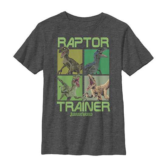 Jurassic World Raptor Trainer Dino Boxes Boys Crew Neck Short Sleeve Jurassic World Graphic T-Shirt - Preschool / Big Kid Slim