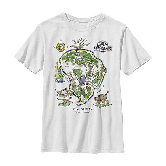 Jurassic World Isla Nublar Map Boys Crew Neck Short Sleeve Jurassic World Graphic T-Shirt - Preschool / Big Kid