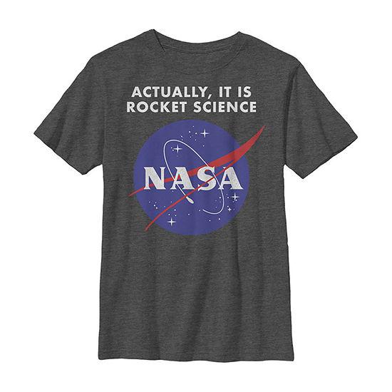 Nasa Logo Actually It Is Rocket Science Boys Crew Neck Short Sleeve Graphic T-Shirt - Preschool / Big Kid Slim