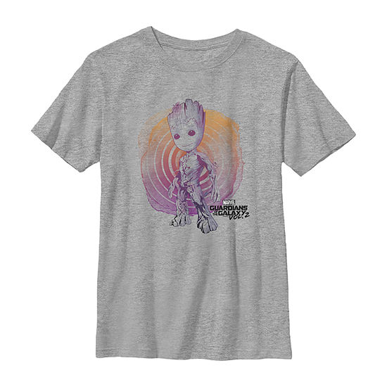 Marvel Guardians Vol. 2 Groot Watercolor Swirl Boys Crew Neck Short Sleeve Marvel Graphic T-Shirt - Preschool / Big Kid Slim
