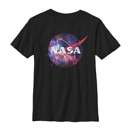 Nasa Purple Pink Mix Galaxy Style Logo - Little Kid / Big Kid Boys Slim Crew Neck Short Sleeve Graphic T-Shirt