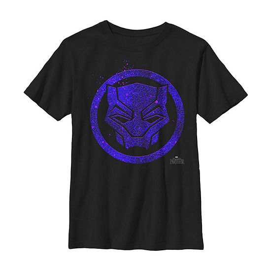 Marvel Black Panther Movie Purple Splatter Icon Boys Crew Neck Short Sleeve Graphic T-Shirt - Preschool / Big Kid Slim