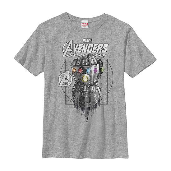 Marvel Infinity War Geo Gauntlet Sketch Boys Crew Neck Short Sleeve Marvel Graphic T-Shirt - Preschool / Big Kid Slim