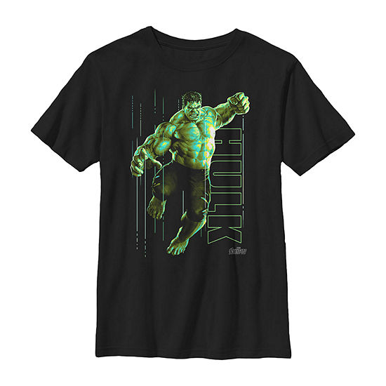 Marvel Infinity War Incredible Hulk Jump Smash Boys Crew Neck Short Sleeve Marvel Graphic T-Shirt - Preschool / Big Kid Slim