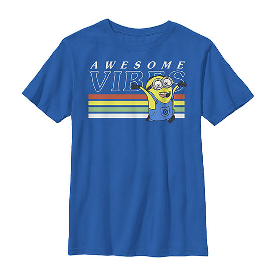 Despicable Me Minions Dave Awesome Vibes Boys Crew Neck Short Sleeve Minons Graphic T-Shirt - Preschool / Big Kid Slim