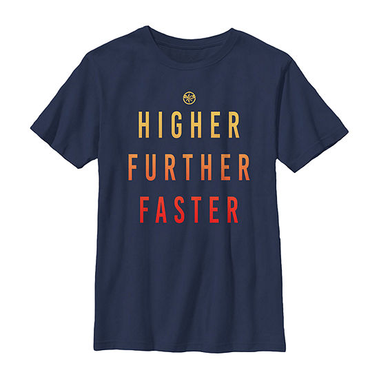 Marvel Captain Marvel Higher Further Faster Boys Crew Neck Short Sleeve Marvel Graphic T-Shirt - Preschool / Big Kid Slim