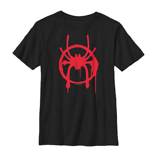 Marvel Spiderverse Miles Symbol Tag Boys Crew Neck Short Sleeve Marvel Graphic T-Shirt - Preschool / Big Kid Slim