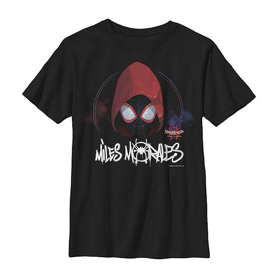 Marvel Spiderverse Spider-Man Red Hood - Little Kid / Big Kid Boys Slim Crew Neck Marvel Short Sleeve Graphic T-Shirt