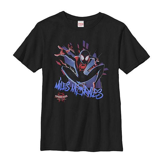 Marvel Spiderverse Spidey Graffiti Explosion - Little Kid / Big Kid Boys Slim Crew Neck Marvel Short Sleeve Graphic T-Shirt