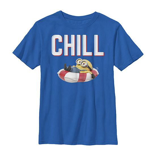 Despicable Me Minions Bob Chillaxin In Tube Boys Crew Neck Short Sleeve Minons Graphic T-Shirt - Preschool / Big Kid Slim