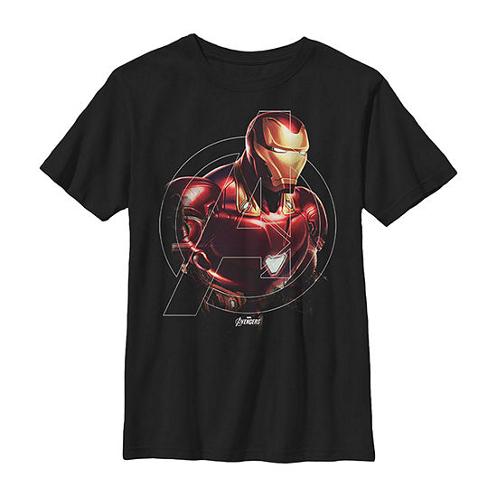 Marvel Avengers Endgame Iron Man Portrait Boys Crew Neck Short Sleeve Marvel Graphic T-Shirt - Preschool / Big Kid Slim