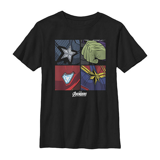 Marvel Avengers Endgame Hero Symbols Boxed Up Boys Crew Neck Short Sleeve Marvel Graphic T-Shirt - Preschool / Big Kid Slim
