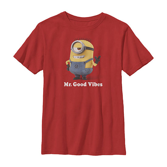 Despicable Me Minions Mr. Good Vibes Little & Big Boys Slim Crew Neck Minons Short Sleeve Graphic T-Shirt