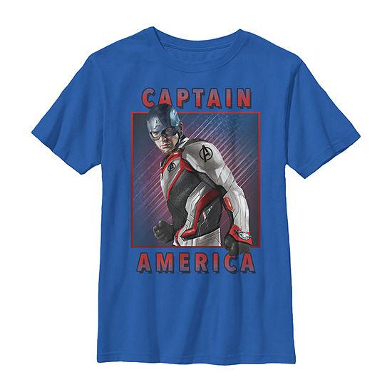Marvel Avengers Endgame Captain America Solo Boys Crew Neck Short Sleeve Marvel Graphic T-Shirt - Preschool / Big Kid Slim