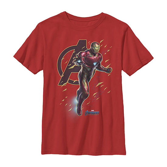 Marvel Avengers Endgame Iron Man Action Pose Boys Crew Neck Short Sleeve Marvel Graphic T-Shirt - Preschool / Big Kid Slim