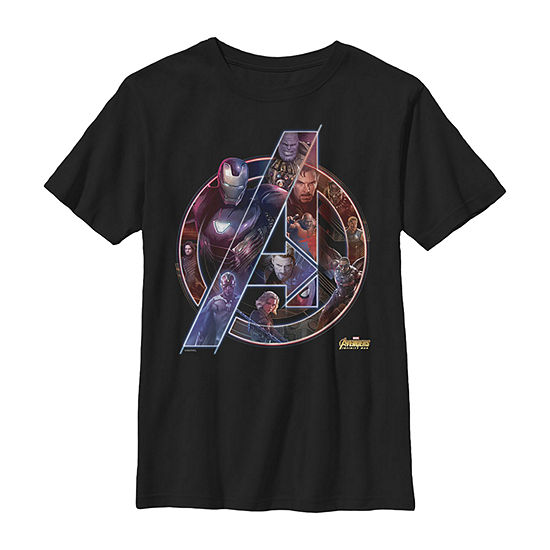 Marvel Avengers Infinity War Neon Team Little & Big Boys Slim Crew Neck Marvel Short Sleeve Graphic T-Shirt