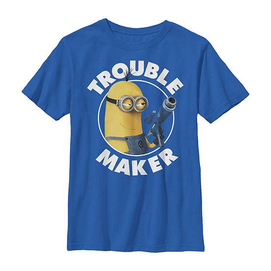 Despicable Me Minions Kevin Trouble Maker - Little Kid / Big Kid Boys Slim Crew Neck Minons Short Sleeve Graphic T-Shirt
