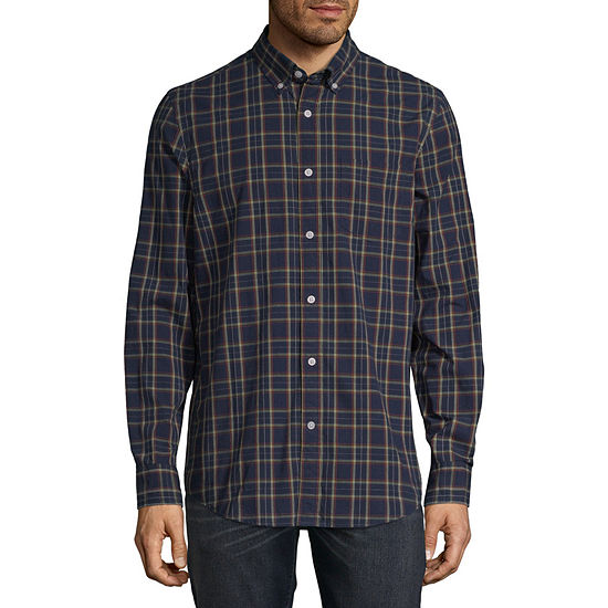 St. John's Bay Stretch Mens Long Sleeve Plaid Button-Front Shirt