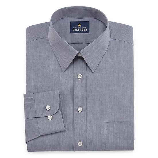 Stafford Mens Point Collar Long Sleeve Wrinkle Free Stretch Dress Shirt