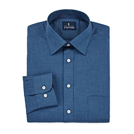 Stafford Mens Travel Easy-Care Broadcloth Stretch Fitted Dress Shirt