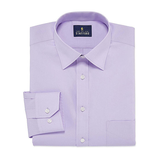 Stafford Mens Travel Easy-Care Broadcloth Stretch Regular Fit Dress Shirt